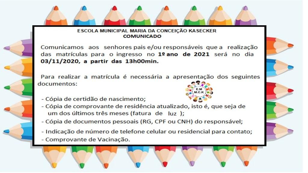 COMUNICADO- MATRÍCULA E REMATRÍCULA 2021 - ESCOLAS