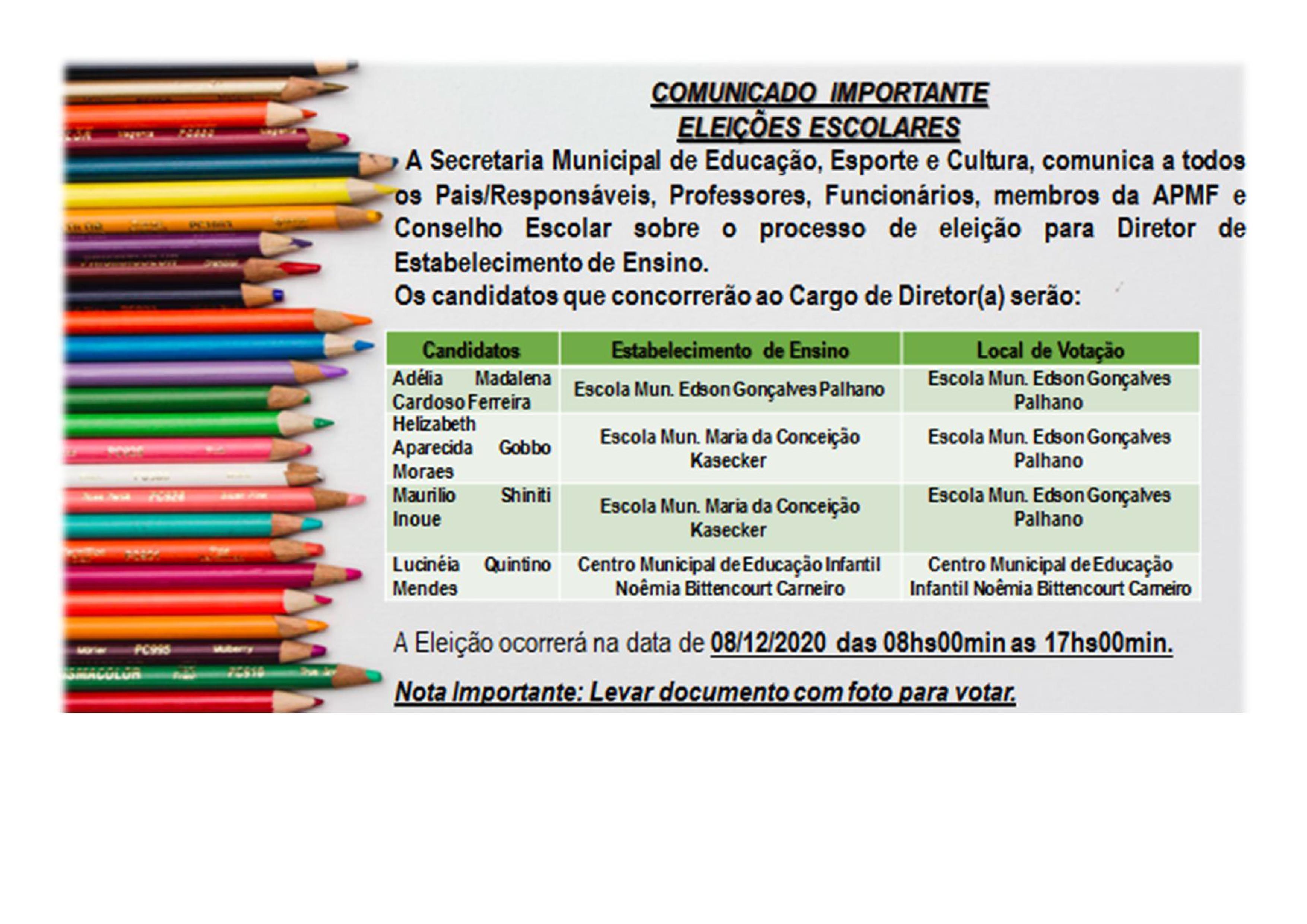 COMUNICADO - ELEIÇÃO DE DIRETORES DAS ESCOLAS MUNICIPAIS