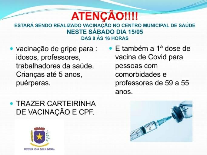 VACINAÇÃO DA GRIPE - 1º DOSE DA VACIANA COVID-19 - COMORBIDADES E PROFESSORES 55 a 59 anos