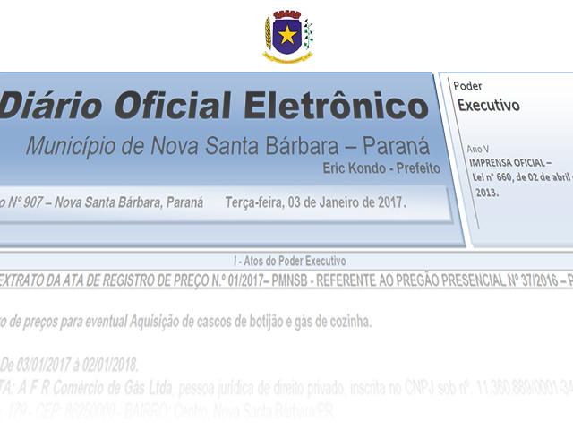 Diário Oficial Eletrônico - DOE edição diária